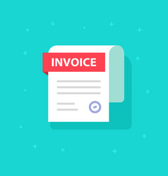 bill icon flat cartoon invoice paper vector image vector image