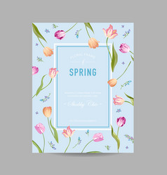 Blooming spring and summer floral design card vector