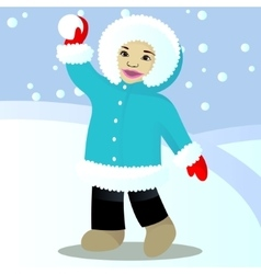 Child play snowballs vector