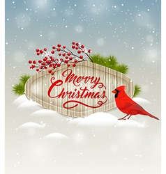 Christmas background with cardinal bird vector