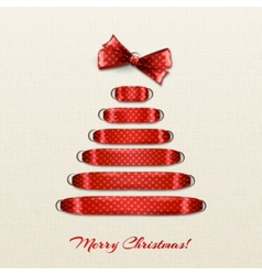 Christmas tree from red ribbon background vector