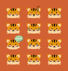 cute tiger icons vector image