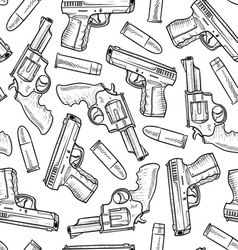 doodle guns pattern seamless vector image vector image