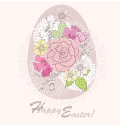 easter egg easter card with floral pattern vector image