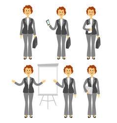 Female manager character or business woman set vector