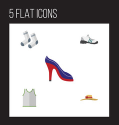 Flat icon dress set of sneakers singlet foot vector