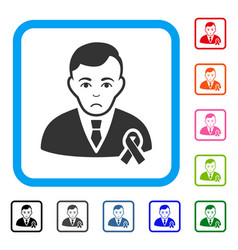 Gentleman with mourning ribbon framed unhappy icon vector