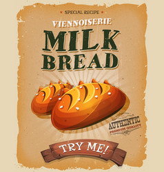 grunge and vintage milk bread poster vector image vector image