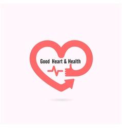 Heart shape and human hand symbol vector