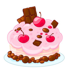 Icon cartoon delicious sponge cake with chocolate vector