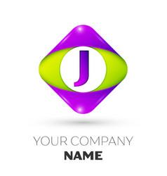Letter j logo symbol in colorful rhombus vector