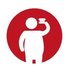 Man silhouette fat fast food icon vector