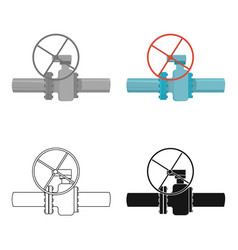 Oil pipe with valve icon in cartoon style isolated vector