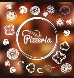 Pizzeria identity concept chalkboard toppings as vector