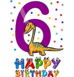 Sixth birthday cartoon design vector
