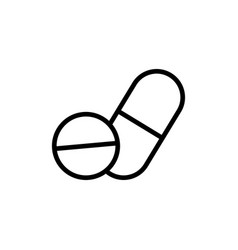 thin line pill and tablet icon on white background vector image