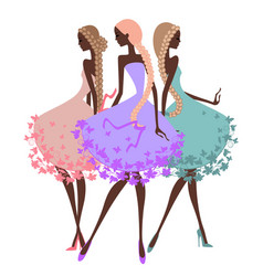 Three silhouette girls with braids vector image vector image
