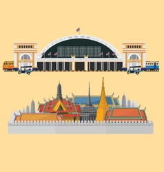 Train station and palace in bangkok vector