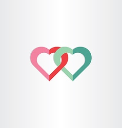 two green and red hearts symbol vector image