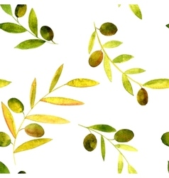 Watercolor seamless pattern with olives vector
