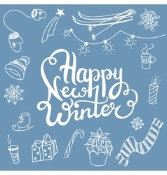 Winter associations doodles and lettering vector