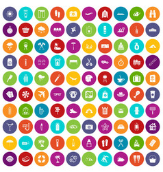 100 vacation icons set color vector