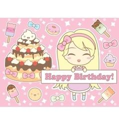 Happy birthday card in kawaii style vector