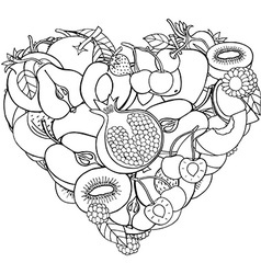Fruit love heart ornament vector