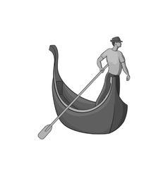 Gondola and gondolier icon black monochrome style vector