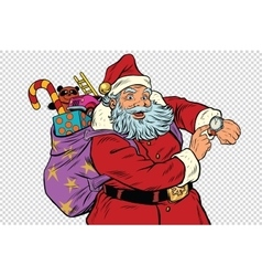 Santa claus shows on the clock new year and vector