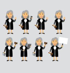 female judge cartoon mascot vector image