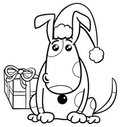 puppy on christmas coloring book vector image