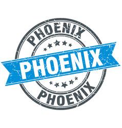 Phoenix blue round grunge vintage ribbon stamp vector