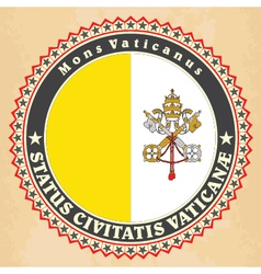 Vintage label cards of vatican city flag vector