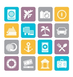 Silhouette tourism and travel icons vector