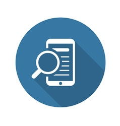 Mobile phone with magnifying glass search icon vector