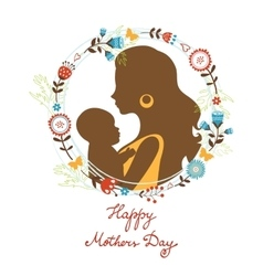 Beautiful mother with her baby silhouettes with vector