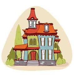 Cute cartoon style house vector