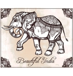 Hand drawn ornate elephant vector
