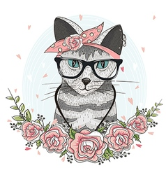 Cute hipster cat with glasses scarf and flowers vector