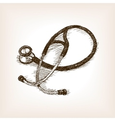 Stethoscope hand drawn sketch vector
