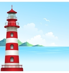 Blue sea background with waves and lighthouse vector
