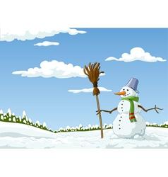 landscape with a snowman vector image