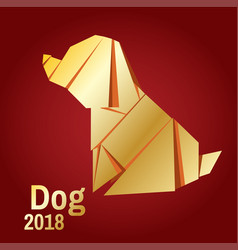 a golden origami dog vector image vector image