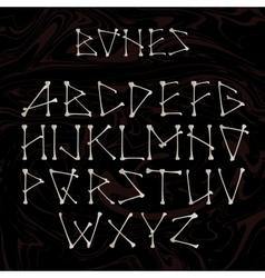 Alphabet made of crossed white bonesWhite vector image