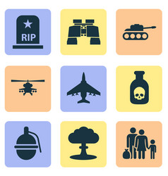 Army icons set collection of danger fugitive vector