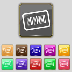 Barcode icon sign Set with eleven colored buttons vector image