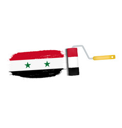 brush stroke with syria national flag isolated on vector image
