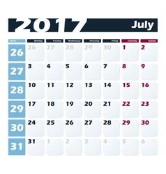 Calendar 2017 july design template week vector