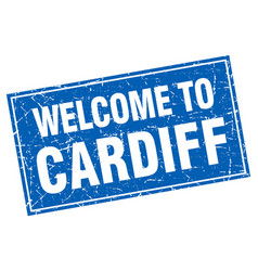 Cardiff blue square grunge welcome to stamp vector